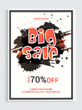 Big Sale Flyer or Banner. Big Sale Flyer, Sale Banner, Sale Poster, Sale Template, 70% Discount Offer, Creative Sale Vector Illustration with abstract splash Royalty Free Stock Photography