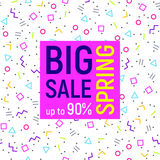 Big sale geometric background, memphis style. Abstract Big sale banner, geometric background with different geometric shapes - triangles, circles, dots, lines Royalty Free Stock Images