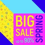 Big sale geometric background, memphis style Royalty Free Stock Photo