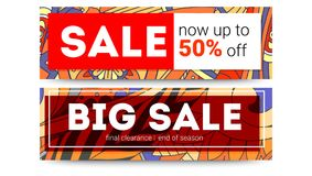 Big sale, get up to fifty percent discount. Set of sales banner on tribal pattern backdrop. Special offer banner. Abstract geometric pattern. Ad for shopping Royalty Free Stock Photo