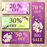Big sale, Gift certificate, Coupon template. Spring design. Royalty Free Stock Photo