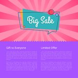 Big Sale Gift for Everyone Limited Proposal Vector. Illustration  on pink and purple background. Best offer discounts with place for text Stock Image