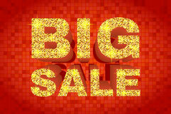 Big sale glitter banner with gold glitter text. Royalty Free Stock Photo