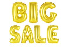 Big sale, gold color. Gold alphabet balloons, big sale, Gold number and letter balloon Royalty Free Stock Image