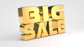 Big sale gold 3d text. 3d render Stock Photos
