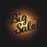 Big Sale Golden Glowing Particles Vector Background. Big sale bright golden shimmer glowing round particles vector background. Scatter shine tinsel light Royalty Free Stock Photography