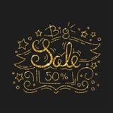 Big Sale Golden Lettering Design. Black Friday Banner. Big Sale Golden Lettering Design. Typographic Background in Line Style. Shiny Gold Glitter Black Friday Stock Image