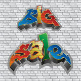 Big sale. Graffiti style. Sale inscription, urban art. Brick wall. gray. Vector. The inscription Big Sale on a brick gray wall Royalty Free Stock Images