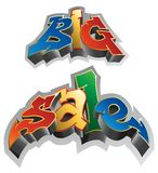 Big sale. Graffiti style. Sale inscription, urban art. Vector Illustration Stock Photos