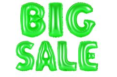 Big sale, green color. Big sale, green number and letter balloon Royalty Free Stock Photo