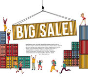 Big sale group happy people shopping container and sign. Royalty Free Stock Photography