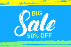 Big sale hand written lettering. stock photography