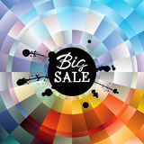 Big Sale handwritten Inscription and black ink splatter on colorful gradient radial background. Stock Photo