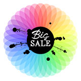 Big Sale handwritten Inscription and black ink splatter on colorful spectrum background. Royalty Free Stock Photos