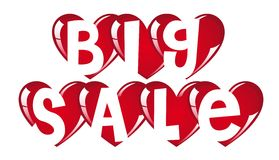 Big sale hearts. Red big sale hearts on white background,  illustration Stock Photo