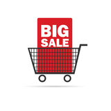 Big sale icon with basket color vector Royalty Free Stock Photography