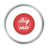 Big sale icon in cartoon style isolated on white background. Label symbol stock  Stock Photography