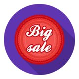 Big sale icon in flat style isolated on white background. Label symbol stock vector illustration. Stock Image