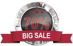 70% big sale icon. 70% big sale metallic icon Royalty Free Stock Images