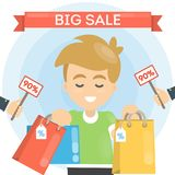 Big sale illustration. Man with shopping bags and price tags Stock Images