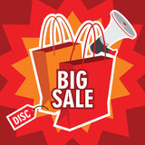 Big sale illustration with shopping bag Stock Image