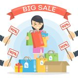 Big sale illustration. Woman with shopping bags and price tags Stock Photo