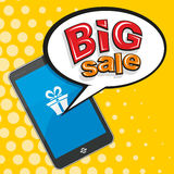 Big sale. Information on mobile phone. On the phone the information about the sale. Vector Royalty Free Stock Image