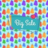 Big Sale Banner Seamless Pattern Shopping Bags Royalty Free Stock Photo
