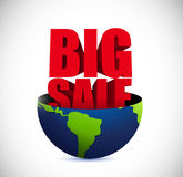 Big sale inside a globe business sign Stock Photo
