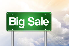 Big Sale, Just Ahead Green Road Sign Stock Photo