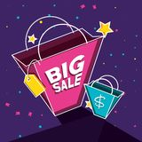 Big sale label with bags shopping. Vector illustration design stock illustration