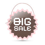 Big sale label - brown and pink retro tag Royalty Free Stock Images