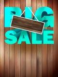 Big sale label over wood background. Stock Images
