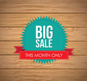 Big sale. Label over wooden background vector illustration Royalty Free Stock Images