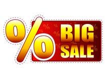 Big sale label with percentage symbol. Big sale - red and yellow label with text and percentage sign Stock Images