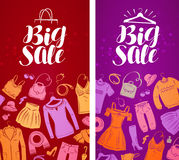Big sale, label. Shopping, boutique, clothing store, fashion concept. Vector illustration Stock Photography