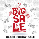 Big Sale lettering.Tee Shirt, Black friday Royalty Free Stock Photos