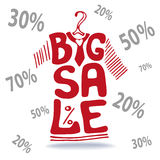 Big Sale lettering.Tee Shirt on hanger,falling Royalty Free Stock Images
