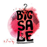 Big Sale lettering.Tee Shirt,watercolor red splash Royalty Free Stock Photo