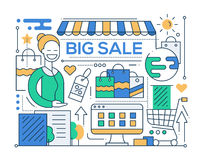 Big Sale - line design composition Royalty Free Stock Photos