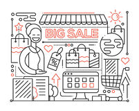Big Sale - line design composition Stock Photos