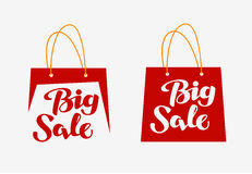 Big Sale logo. Inscription written on shopping bag. Vector illustration Royalty Free Stock Images
