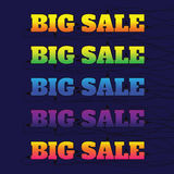 Big sale made by neon type, vector illustration. Abstract veiole. T background. Design concept. Cinema Signage Light Bulbs Frame and Neon Lamps on background Royalty Free Stock Images