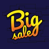 Big sale made by neon type, vector illustration. Abstract veiole. T background. Design concept. Cinema Signage Light Bulbs Frame and Neon Lamps on background Royalty Free Stock Photos