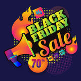 Big sale made by neon type, vector illustration. Abstract. Big sale made by neon type, vector illustration. Abstract veiolet background. Design concept. Cinema Stock Photos