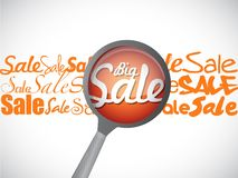 Big sale magnify glass illustration Stock Photography