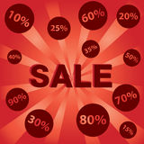 Big Sale with Many discount price on red and orange background. Stock Photos