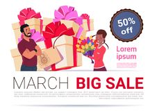 Big Sale On 8 March Banner Template International Women Day Discount And Promotion Concept. Flat Vector Illustration Royalty Free Stock Photo