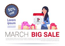 Big Sale On 8 March Banner Template International Women Day Discount And Promotion Concept. Flat Vector Illustration Royalty Free Stock Photos