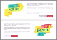 Big Sale Mega Discount and Hot Price Page Sample stock illustration